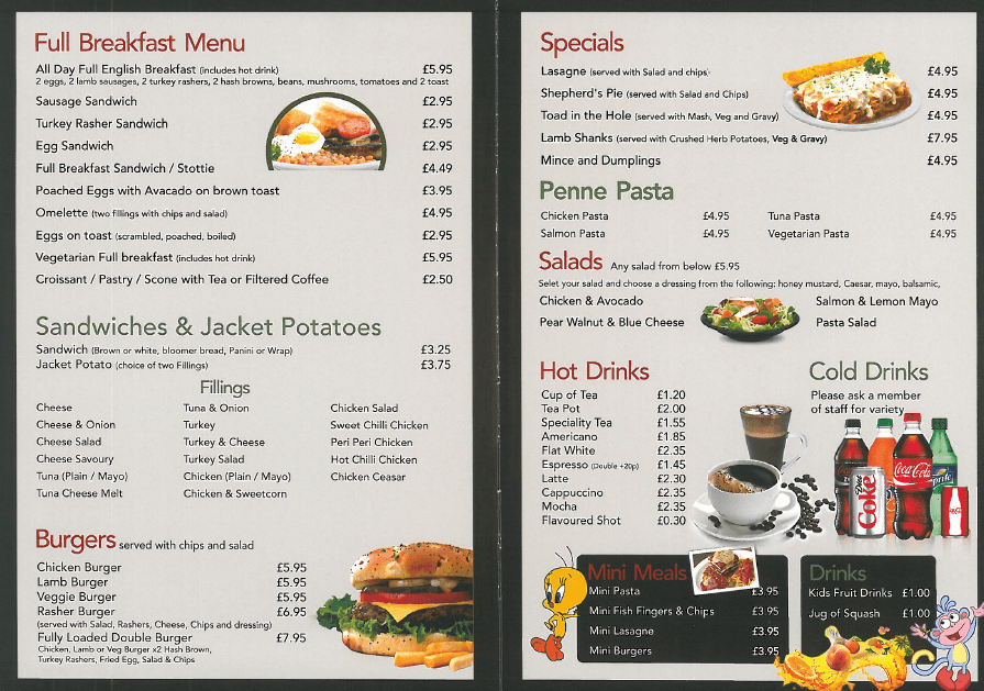Menu (available all day)