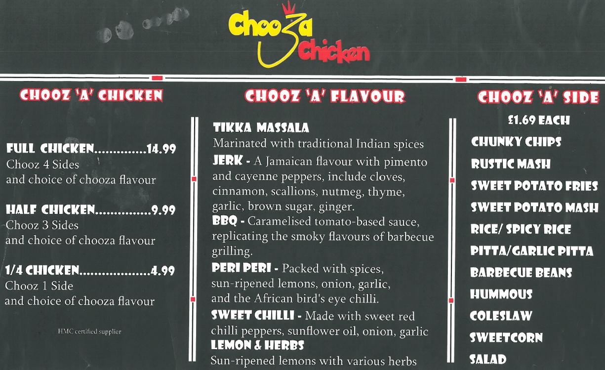 Chooza Chicken Menu
